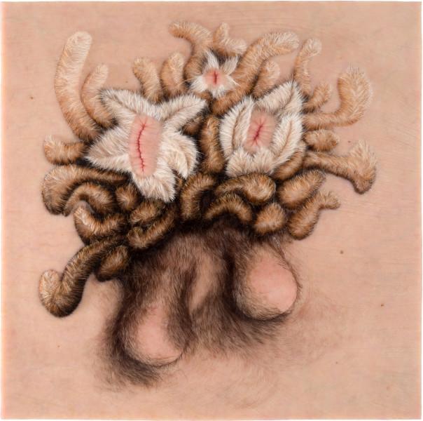 Patricia Piccinini Vanitas, 2012; Silicone, fibreglass and human hair    ; 70 x 70 x 7 cm; enquire