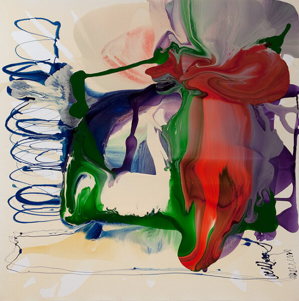 Dale Frank His painting was like being trapped in a crowded moving elevator., 2010; varnish on canvas; 200 x 200 cm; enquire