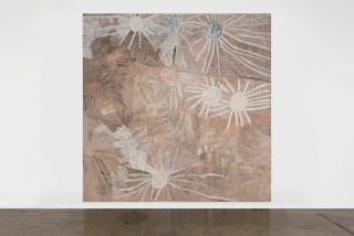 installation view; Nyapanyapa Yunupingu Stars, 2020; 4119-20; natural earth pigments on board; 244 x 244 cm; enquire