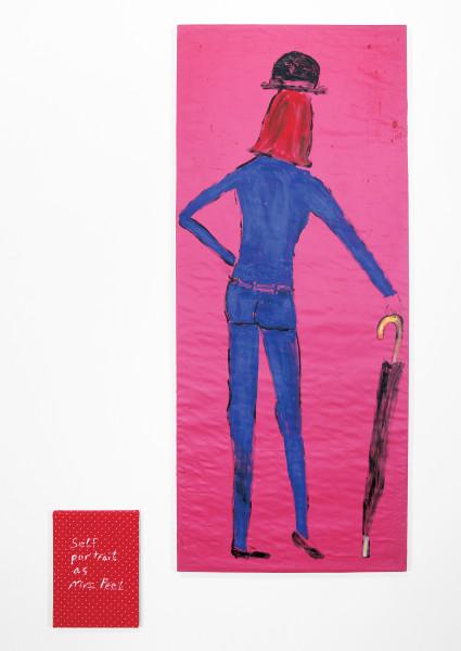 Jenny Watson Mrs Peel, 2004; 2 panels: acrylic on Indian cotton, acrylic on Indian organza; 2 panels: 190 x 80cm, 40 x 30.5cm; enquire