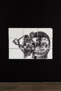installation view; Pierre Mukeba Veridical Paradox (P3), 2021; charcoal on archival paper; 90 x 126 cm; enquire
