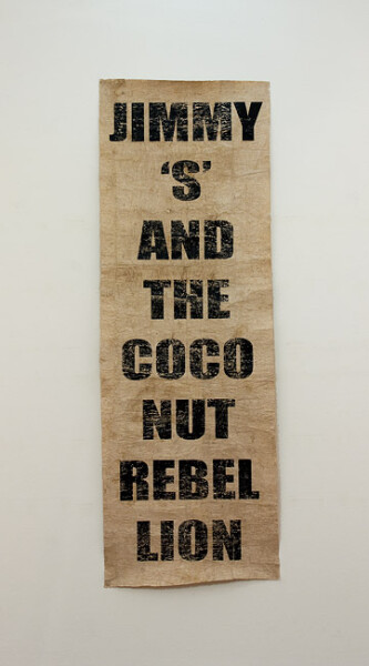 Newell Harry Untitled (Jimmy Stevens and The Coconut Rebellion), 2012; Unique screen print on Tongan Ngatu (tapa); enquire