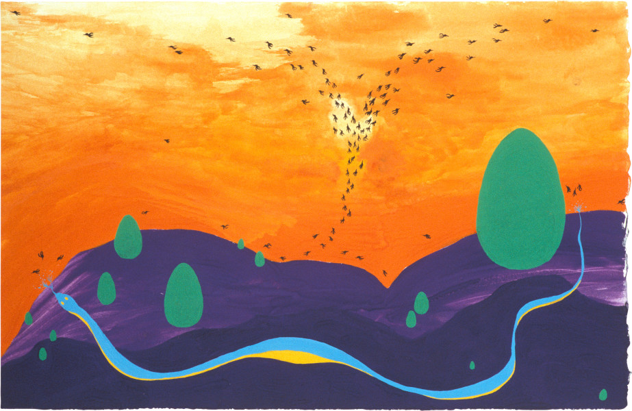 Nell Blue and Yellow, Purple Hills, 2003; gouache on paper; 21 x 32.1 cm; enquire