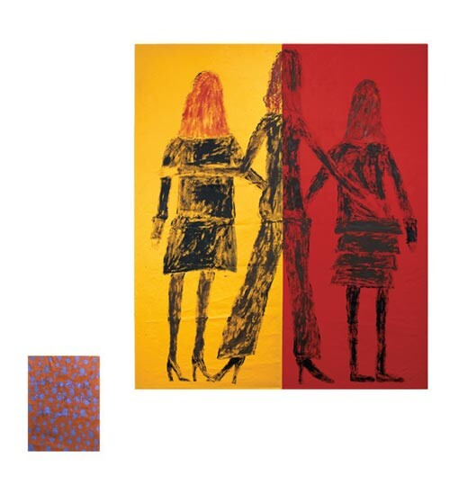 Jenny Watson Angels, 2004; acrylic on Indian cotton and Indian silk; 2 panels: 190 x 161.5cm 40 x 30.5cm; enquire