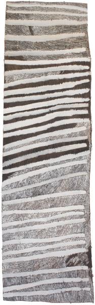 Nyapanyapa Yunupingu Lines, 2017; 4680-17; natural earth pigments on bark; 205 x 64 cm; enquire