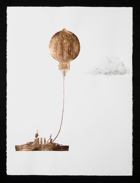 Caroline Rothwell Tethered Marine Balloon Particle Injector, 2014; Copper leaf, vehicle exhaust emission, acrylic binder on Arches hot pressed archival paper; 76 x 57cm (paper), 80.5 x 61.5cm (framed); enquire