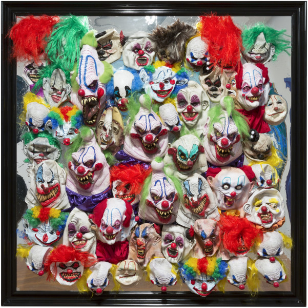 Dale Frank Eric, 2016; painted rubber silicon clown  masks in Liquid Glass on perspex; 200 x 200 cm; enquire