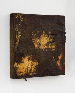 Kirtika Kain The Solar Line IX, 2020; Tar, gold leaf, rice paper, silicon carbide, beeswax, disused silk screen; 35 x 35 cm; enquire