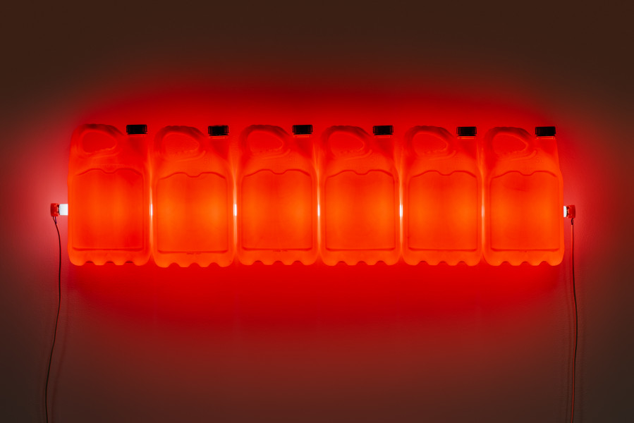 Bill Culbert Strait (Red), 2015; fluorescent light, plastic bottles; 32 x 120 x 12 cm; enquire
