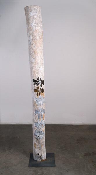 Nyapanyapa Yunupingu 24. Untitled, 2013; 4437C; natural earth pigments on hollow log; 232 x 22 x 22 cm; enquire