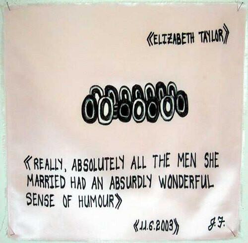 Jacqueline Fraser > >, 2003; >; oil stick on fabric; 30 x 30 cm; enquire