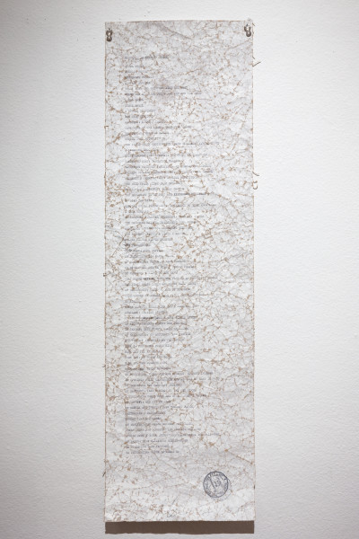 Newell Harry Dictation test (for jay Dee), 2017; gesso on crumpled paper, hand typed text, artist's stamp; 75 x 22.5 cm; enquire