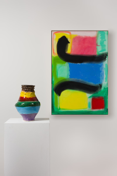 Angela Brennan Interlude, 2017-19; oil on linen and earthenware; 108 x 73.5 cm; Enquire