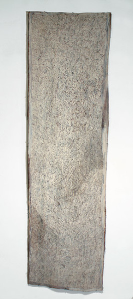 Nyapanyapa Yunupingu Narraku Namala, 2012; 4246V; natural earth pigments on bark; 251 x 73 cm; enquire