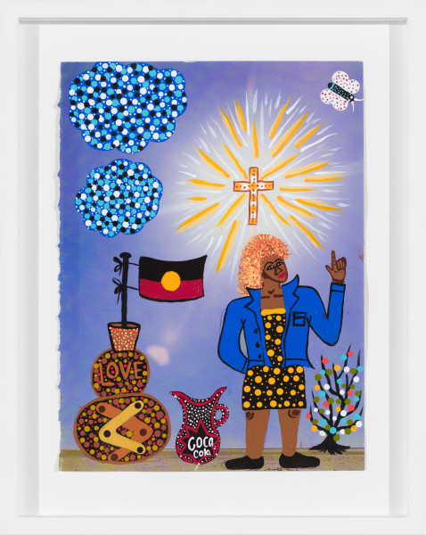 Kaylene Whiskey Tina Turner in Coober Pedy, 2020; Acrylic on found print; 30 x 20 cm; enquire