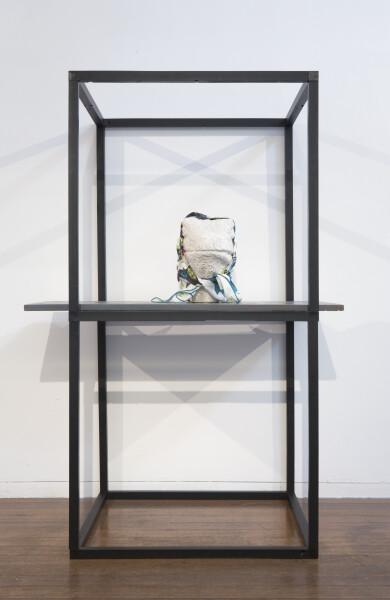 Hany Armanious Comfort and contempt, 2011; pigment polyurethane resin, porcelain, Hermes scarf; 178 x 88 x 65 cm; enquire