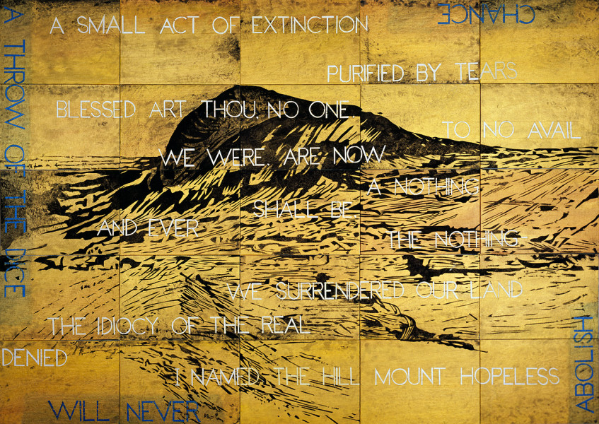 Imants Tillers I Named the Hill Mount Hopeless, 2012; acrylic, gouache on 25 canvas boards, nos. 90923-90947; 126 x 177 cm; enquire