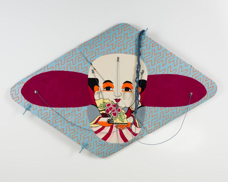 Claire Healy and Sean Cordeiro Fukusuke, 2020; Kiowa helicopter fuselage doors, acrylic gouache, polyester line; 140 x 210 x 20 cm; enquire