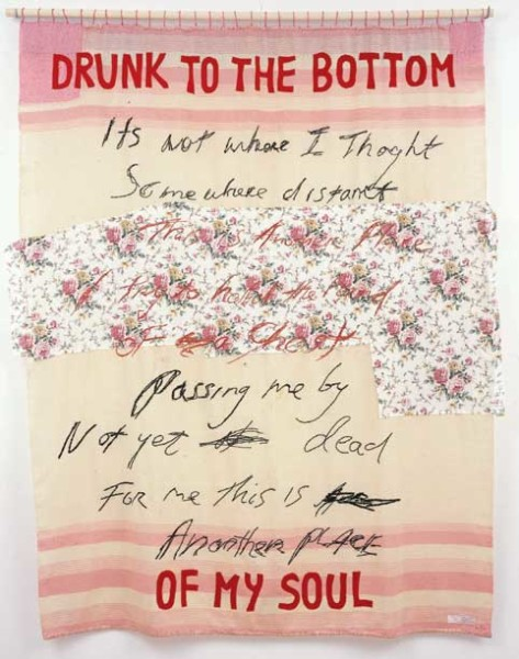 Tracey Emin DRUNK TO THE BOTTOM OF MY SOUL, 2002; appliqué blanket with embroidery; 198 x 160 cm; enquire