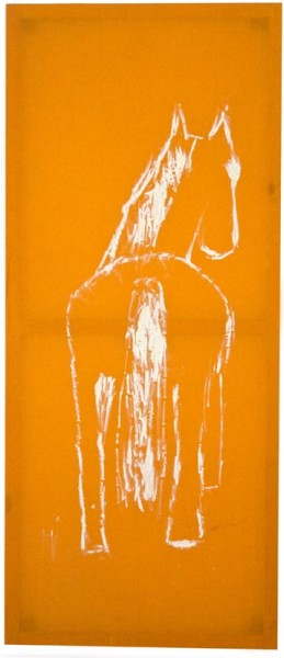 Jenny Watson Horse From Back, 1986; Oil on Indian cotton; 186.5 x 80 cm; enquire