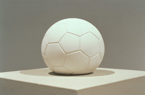 James Angus Soccerball dropped from 35,000 feet, 1999; plaster; 20 x 22 x 22 cm; Edition of 5; enquire