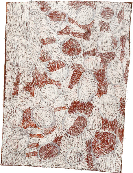 Nyapanyapa Yunupingu 28. Mangutji #2, 2010; Natural earth pigments on bark 3709U; 103 x 78 cm; enquire