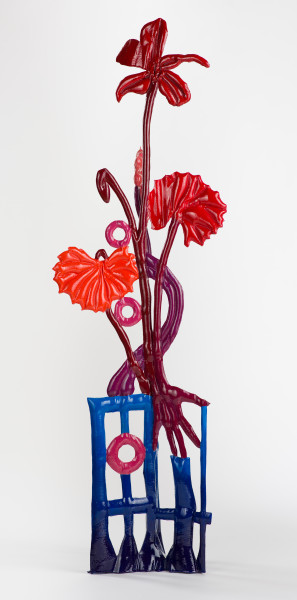 Caroline Rothwell Viola banksii with hand (after Floriligeum), 2019; canvas, hydrostone, steel, paint, epoxy glass; 132 x 41 x 28 cm; Enquire