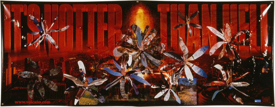 Dale Frank It's Hotter than Hell, 1997; paper and varnish on printed vinyl; 119 x 306 cm; enquire
