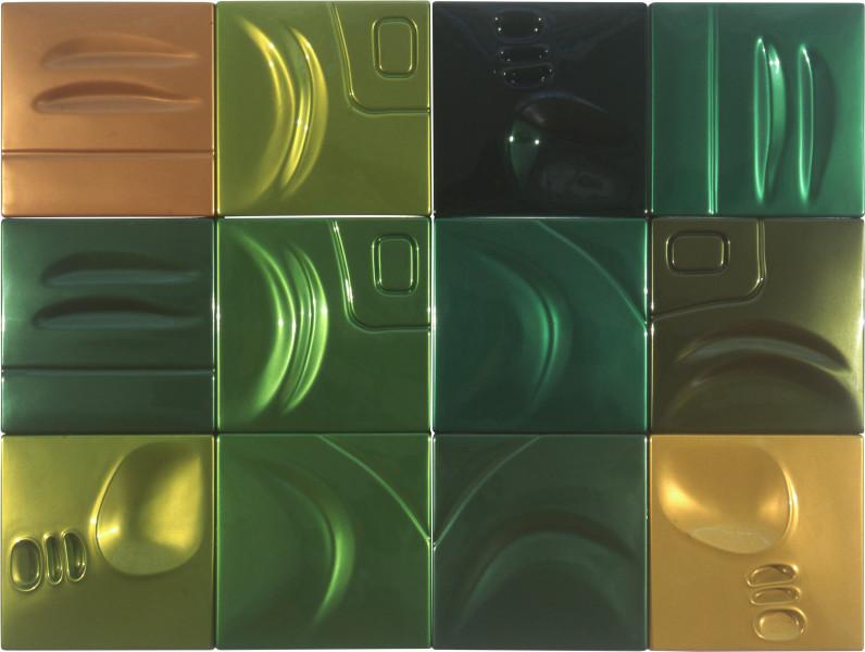 Patricia Piccinini Tropical, 2001; ABS plastic and automotive paint; 12 panels, each 49.5 x 49.5 x 4.5 cm, overall dimensions 148.5 x 198 cm; enquire