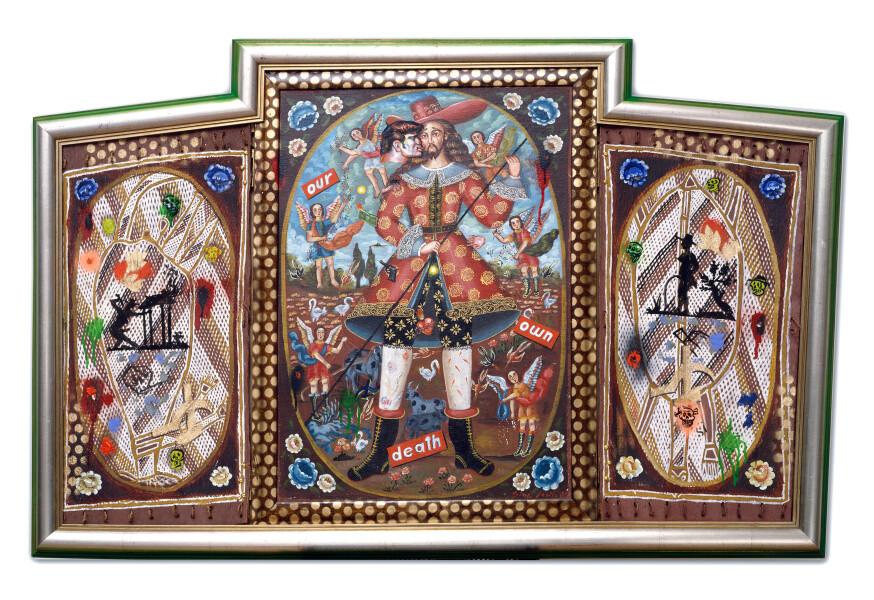 Juan Davila Our Own Death, 1991; oil and collage on canvas; 88 x 138 cm; enquire