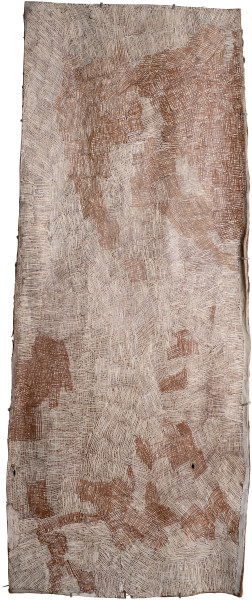 Nyapanyapa Yunupingu Untitled, 2015; 4802K; natural earth pigments on bark; 162 x 66 cm; Enquire