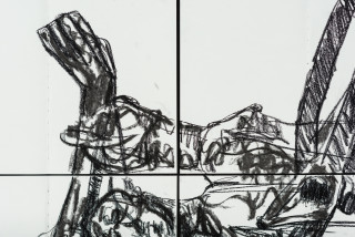 Pierre Mukeba Anatomical Observation (detail), 2021; charcoal on archival paper; 120 x 126 cm; enquire