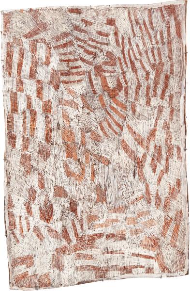Nyapanyapa Yunupingu 25. Pink and White Painting #4, 2010; 3723M; Natural earth pigments on bark; 128 x 86 cm; enquire