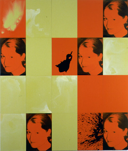 Lindy Lee Nell-dharma, 2001; 20 panels, photocopy, acrylic, oil, wax, and ink on board; 166 x 147 cm; enquire