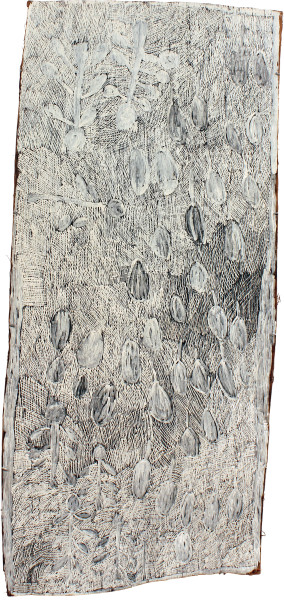 Nyapanyapa Yunupingu Dharpa, 2011; 4071R; natural earth pigments on bark; 177 x 85 cm; enquire