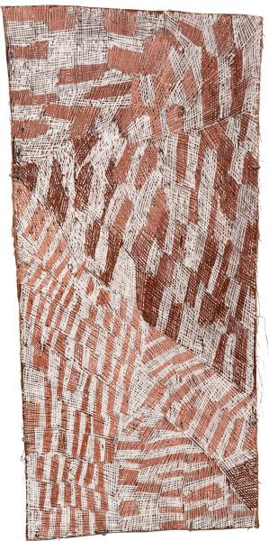 Nyapanyapa Yunupingu 24. Pink and White Painting #3, 2010; 3685L; Natural earth pigments on bark; 104 x 35 cm; enquire
