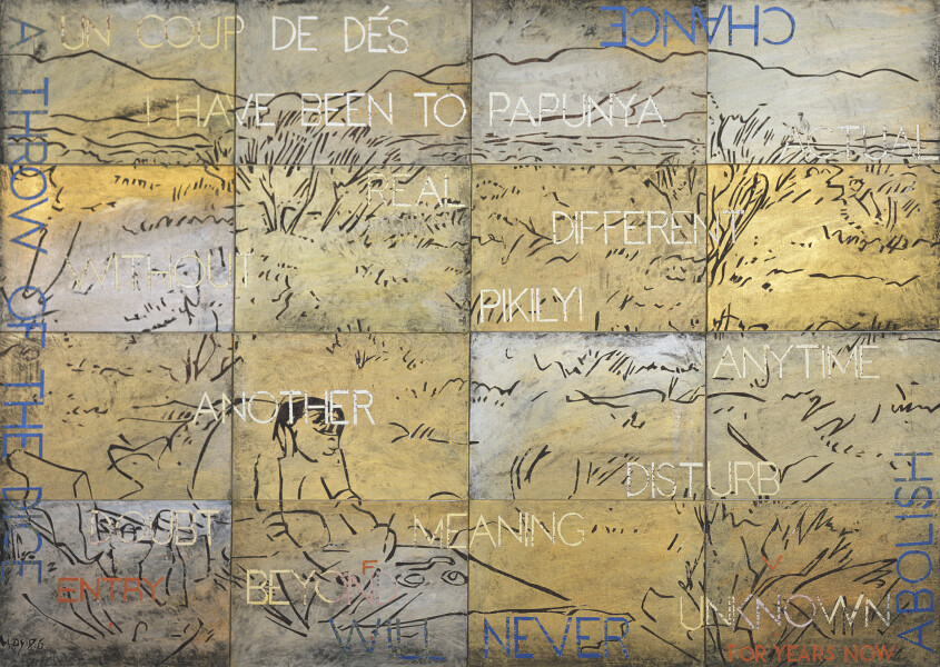 Imants Tillers Nature Speaks: FV, 2017; from the series Sung into Being; acrylic, gouache on 16 canvas boards, no. 95810 - 95825; 100 x 141 cm; enquire