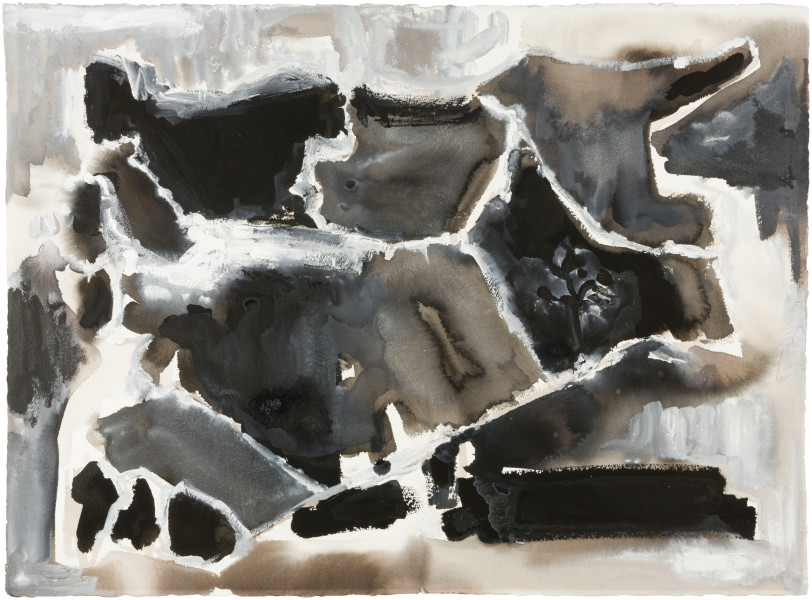Fiona Hall Cage (Syria map 11), 2017; Cat no. 51; gouache and tapa dye on rag paper; 57 x 76 cm; enquire