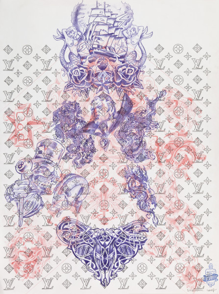 Wim Delvoye Untitled (tattoo drawing #9), 2007; pencil and coloured pencil on paper; 70.5 x 52.6 cm; enquire