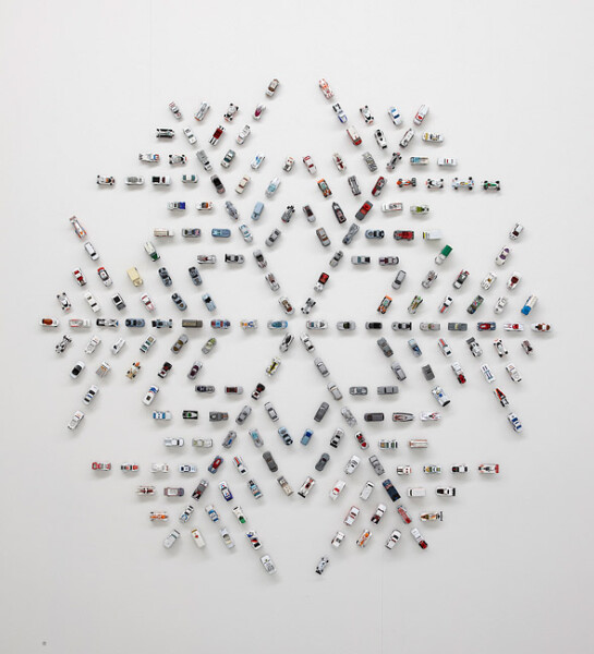 Claire Healy and Sean Cordeiro Autoflake WG222, 2012; toy cars, magnets; 190 x 196 x 4 cm; enquire