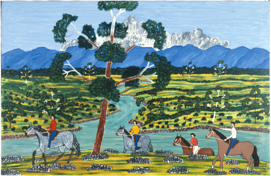 Robert Campbell Jnr Riding on Macleay, 1987; acrylic on canvas; 73 x 111 cm; enquire