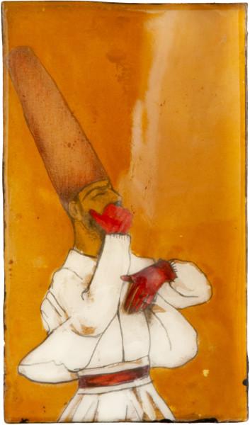 Hossein Ghaemi The hoot is on me, 2009; gouache, paper, liquid glass and boxboard; 27 x 15 cm; enquire