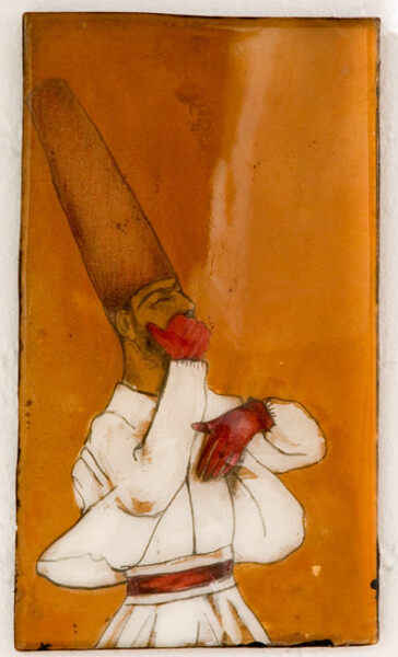 Hossein Ghaemi The hoot is on me, 2009; gouache, paper, liquid glass and boxboard; 27 x 15 cm; enquire