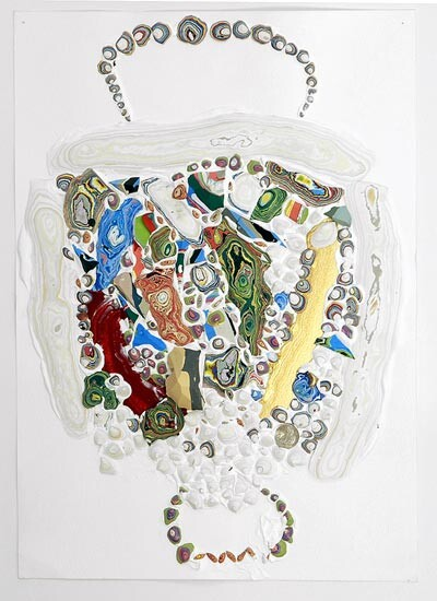 Rohan Wealleans Nest Study, 2006; from the series Exhibited in 'Stolen Ritual', 2006; paint, polystyrene on paper; 28 x 41cm (paper), 56 x 43 x 10 cm (frame); enquire
