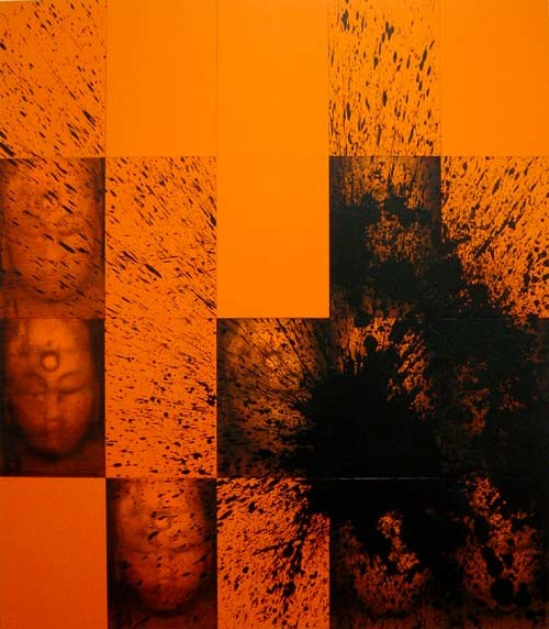 Lindy Lee Net of Indra, 2002; from the series Ten Worlds, Ten Directions; inkjet print, oil, acrylic and wax on board; 162 x 142.5 cm; 20 panels; enquire