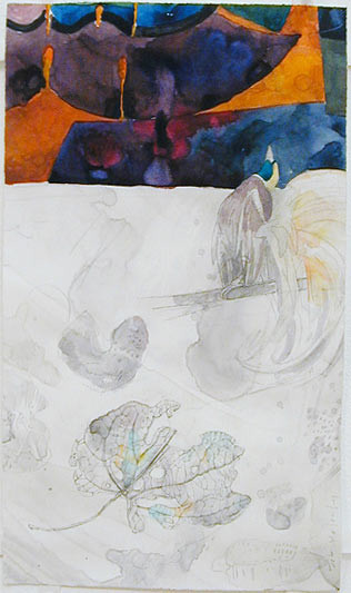 John Wolseley Bird of paradise- vulcanism, 2000; watercolour on paper; 35 x 20 cm; enquire