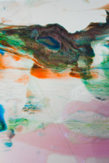 Dale Frank Mind Body and Spritz (detail), 2020; powder pigments in resin, epoxyglass, on Perspex; 150 x 100 cm; Enquire