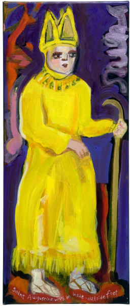 Angela Brennan Saint Augustine with an inside outside foot, 2009; oil on linen; 61 x 27 cm; enquire