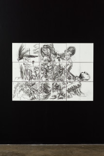 installation view; Pierre Mukeba (INTIMACY)ASH), 2021; charcoal on archival paper; 90 x 126 cm; enquire