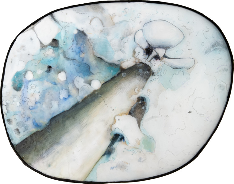 Hossein Ghaemi Ussef: if your batteries die... Issiac: would you bury em?, 2010; 2 parts: Liquid glass, paper, boxboard, gouache, pencil, chalkboard paint; Papier-mache, paper, calico, plastic, wood; 2 parts: 30 x 36; 32 x 32 x 95; enquire